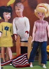Vintage Knitting Pattern Barbie/SindyType Doll Clothes Trousers Tops 4 Ply E8157