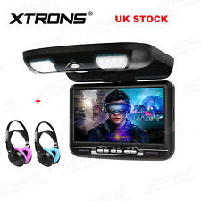 "9"" Car Roof Overhead Monitor Flip Down Screen Video DVD Player +2 Kids Headphone"