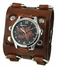 Nemesis Black/Red Dragon Head Watch with Brown Wide Detail Leather Cuff Band