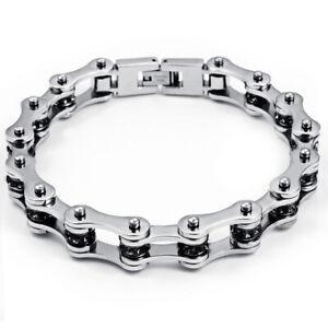 Black Crystal Bling Bracelet Stainless Steel Mens Womens Motorcycle Bike Chain
