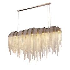 """Length 52"""" Silver Modern Aluminum Chain Pendant Lamp Tassel Chandelier"""