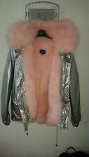 Fully Lined Faux Fur Baby Pink Silver Metallic Coat Jacket BRAND NEW see...