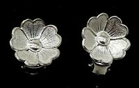 Vintage Sterling Silver Floral Clip on earrings.