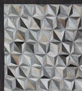 Diamond Grey Cowhide Carpet Home Decor Hand Made Leather hair Area Rug & Carpets