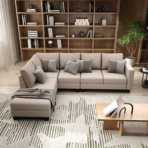 Textured Fabric Sectional Sofa Set, L-shaped Sofa With 5 Seaters for Home Use