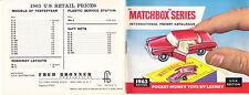 Matchbox 1963 USA Jahreskatalog, perfekt