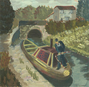 C. Holroyd - Mid 20th Century Gouache, Canal Boat with Figure