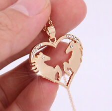 Horse & Western Jewellery Jewelry Ladies Heart Horse Pendant Necklace Gold b