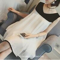 New Spring Chiffon Pleated Maternity Women Sleeveless Pregnant  Loose Dress