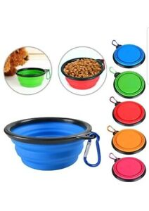 Blue Pet Dog Cat Collapsible Feeding Bowl Travel Portable Silicone Water Dish