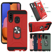 For Samsung Galaxy A20S Magnetic Case Ring Holder Stand Cover Screen Protector