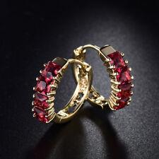 18k Yellow Gold Filled Princess Cut Red Garnet Crystal Hoop Earrings For Women