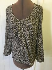 Colorado Size M Brown & White Animal Print Sheer Long Sleeved Top Ex PL # 783