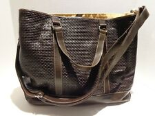 Cole Haan Brown Woven Leather Large Tote Bag