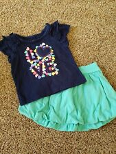 baby girl 12 month outfit, teal skirt, short sleeve blue shirt, 12 month set