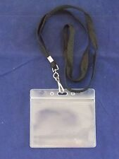 Zip Lock Badge Holder w/ Flat Black Lanyard - ID Card Disney Ticket Resealable