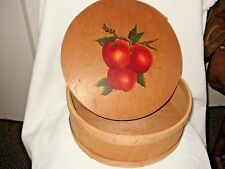 PRIMITIVE, VINTAGE WOOD ROUND BOX w/HAND-PAINTED LID, APPLES, SIGNED