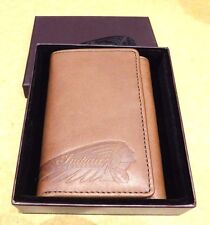 Genuine Indian Motorcycle Tri-Fold Wallet Brown Leather