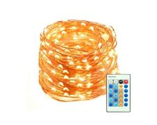 """Mxsaver Warm White 66"""" Dimmable LED Copper Wire String Light w/Remote Waterproof"""
