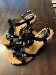 BOC Born Concept Edith Flower Cork Wedge Sandals Black Beige Womens Sz 8 New