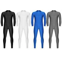Herren Langarm Ganzkörper Body Anzug Unifarben Zip Turnanzug Jumpsuit Overalls