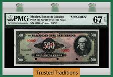 TT PK 43s ND (1940-43) MEXICO 500 PESOS SPECIMEN PMG 67Q SUPERB SCARCELY GRADED!