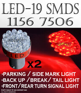 x4 pc 1156 7506 7527 LED 19 SMD Red Color Tail Brake Replacement Light Bulb M161
