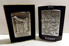 Marlboro Zippo Lighter Collection #1 Lot of 2 Big M Longhorn + Utah Chrome  NEW