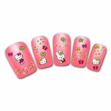 1 x hoja de Hello Kitty Nail Art pequeñas pegatinas Aprox. 30 + calcomanías aleatorio Designs