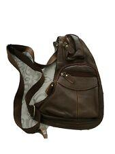 Mens leather sling backpack