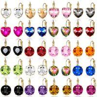 Fashion Crystal Geometric Round Heart Ear Clip Earrings Women Wedding Jewelry