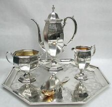 CLASSIC WILLIAM DURGIN 1880's STERLING SILVER 4 PIECE COFFEE SET ON TRAY