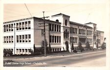 Chehalis Washington~Junior High School~Lady on Street~1940s Real Photo~RPPC
