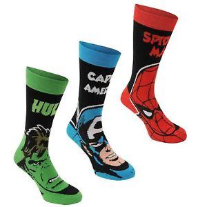 Marvel Comics 3 Pack Men's Crew Socks Hulk Spiderman Captain America - OZ STOCK!