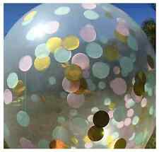 "GIANT 18"" CONFETTI BALLOON CLEAR Metallic Gold, Pink And Mint 45cm"