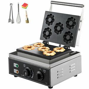 Commercial 5/6 Hole Electric Donut Waffle Maker Sandwich Crepe Machine Kitchen B