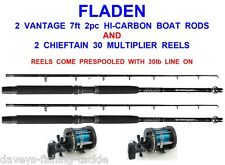 2 FLADEN VANTAGE HI CARBON BOAT RODS+CHIEFTAIN 30 MULTIPLIER REELS SEA FISHING