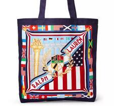 Polo Ralph Lauren Tote Bag Canvas Travel Shopper Sporting Flags USA Blue NWT
