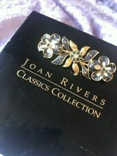 """Joan Rivers """"Classics Collection"""" Blue Floral bar brooch - signed, with box"""