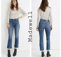 Madewell Women's Cali Demi Boot High Rise Raw Hem Blue Denim Jeans, Size 27