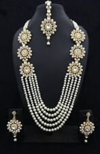 Indian Bollywood Gold Plated Bridal Wedding Pearl Costume Jewellery Earrings Set