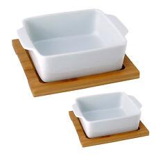 2er Set Dipschalen Dipset Schalen Snackschale Servierschale auf Bambustablett