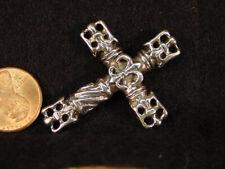 BUTW  sterling silver celtic goth cross pendant 2852x