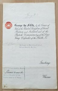 King George V Signed Document, 1919 - Licence To Wear Belgian Order Of The Crown