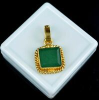 Gold Plated Pendant 11.15 Ct Emerald Cut Natural Emerald Gemstone IGL Certified