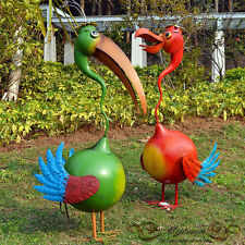 Garden Decor Pair Funny Ibis Outdoor Birds Lawn Ornaments Statues Green Red 88cm