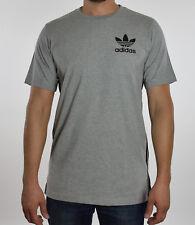 Adidas Gris para Hombre Heather Cuello Redondo Alargado Camiseta M