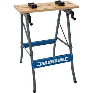 Silverline Foldable Workbench Portable Wood Bench Work Folding Worktop Table