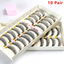 10 Pairs Handmade Natural Long Cross Thick False Eyelashes Fake Eye Lashes New