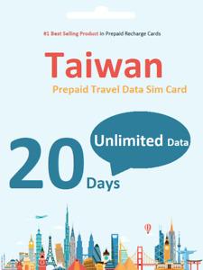 20 days Taiwan Travel data SIM card 4G Unlimited Download / Data